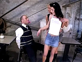 In this scene we have these two gorgeous ladies doing a little lesbian show to tease a horny guy. They both came in wearing sexy tops and short skirts that soon came off. Here we have them making out and playing with their racks and throbbing clits.